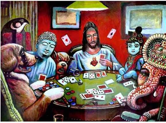 buddha poker playing monks