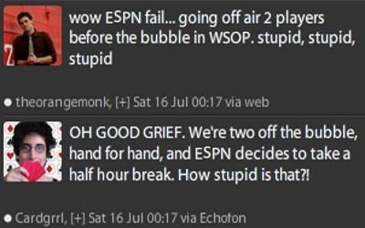 espn wsop 2011 main event bubble hand burst missed offline not shown live