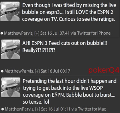 wsop main event bubble missed 2011 espn live matthew parvis tweets posts twitter reaction