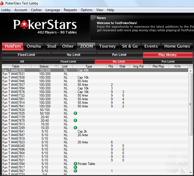 pokerstars test
